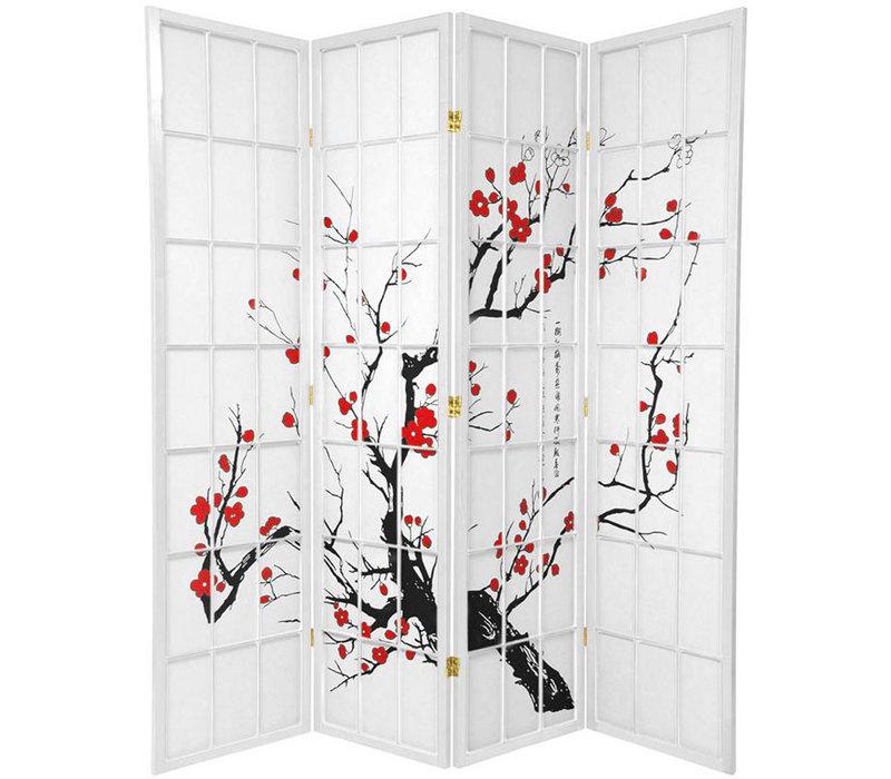 Japans Kamerscherm L180xH180cm Shoji Rijstpapier 4 Panelen - Sakura Wit