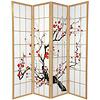 Fine Asianliving Japans Kamerscherm L180xH180cm Shoji Rijstpapier 4 Panelen - Sakura Nat