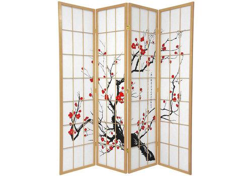 Fine Asianliving Japanischer Paravent Raumteiler Trennwand B180xH180cm 4-teilig Kirschblüten Naturell