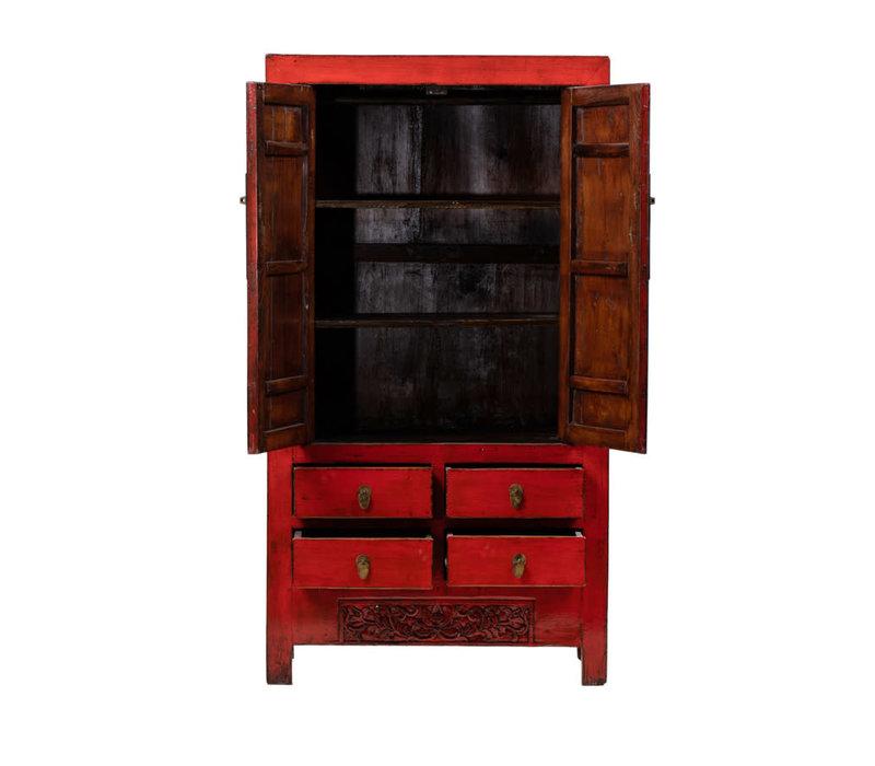 Antieke Chinese Bruidskast Rood B104xD50xH187cm