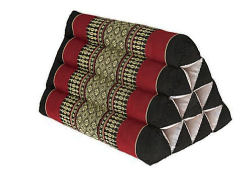 Fine Asianliving Thai Triangle Cushion Reading Pillow Backrest TV Meditation Cushion 50x33x33cm Kapok Red