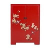 Chinese Kast Rood Bloesems Handgeschilderd B80xD35xH99cm