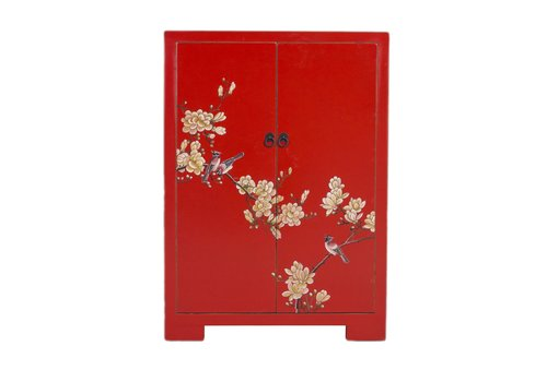 Fine Asianliving Chinese Kast Rood Bloesems Handgeschilderd B80xD35xH99cm