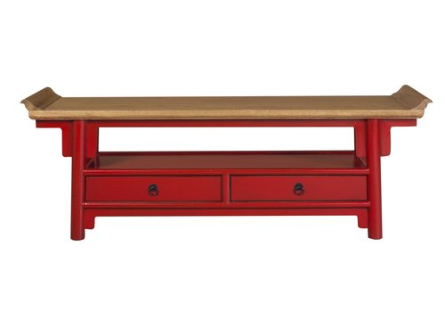 Fine Asianliving Chinese TV Cabinet sideboard Red Qiaotou White two drawers