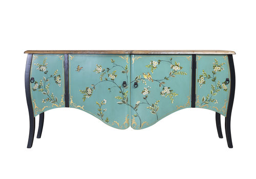 Fine Asianliving Chinese Sideboard Blue Handpainted W186xD54xH89cm