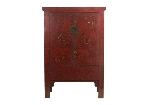 Fine Asianliving Armoire de Mariage Chinoise Antique avec Peinture Dorée L126xP58xH183cm