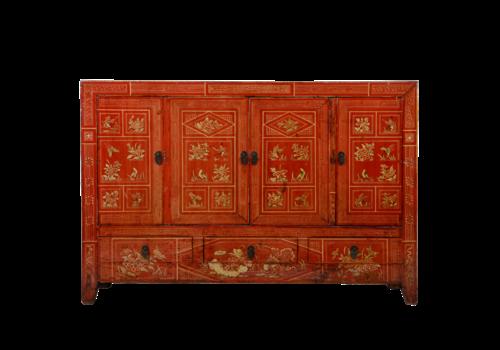 Fine Asianliving Antieke Chinese Dressoir Rood Dongbei Handgeschilderd B156xD40xH104cm