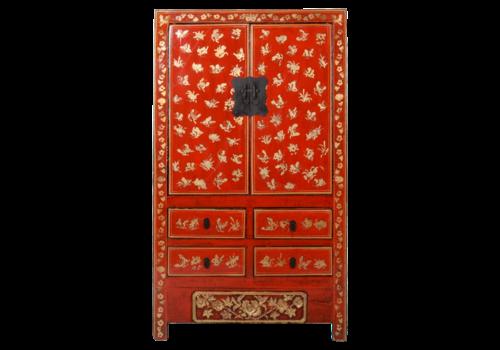 Fine Asianliving Antieke Chinese Bruidskast Rood Goud Handgeschilderd B107xD50xH186cm