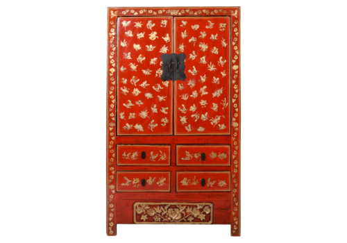 Fine Asianliving Antique Chinese Wedding Cabinet Red Gold Handpainted W107xD50xH186cm
