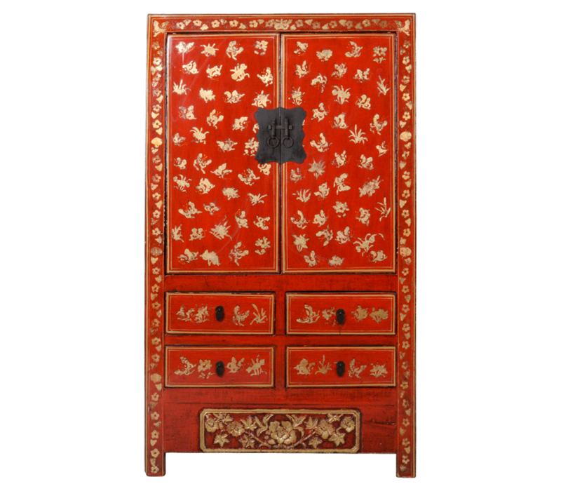 Antieke Chinese Bruidskast Rood Goud Handgeschilderd B107xD50xH186cm