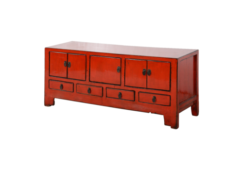 Fine Asianliving Antique Chinese TV Cabinet Red Glossy W134xD41xH62cm