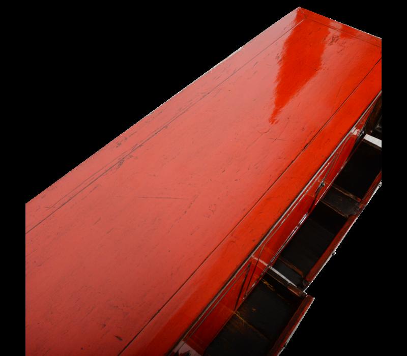 Antieke Chinese TV Kast Rood Glossy B134xD41xH62cm