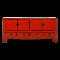 Antieke Chinese TV Kast Rood Glossy B130xD37xH56cm