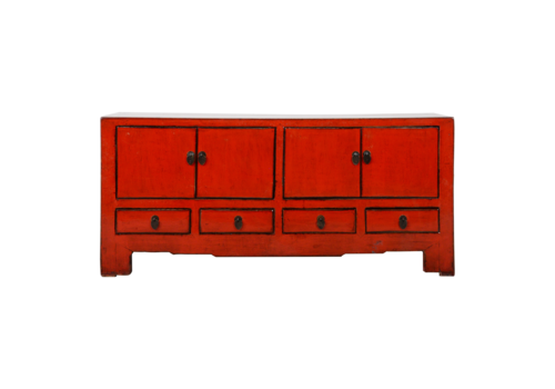 Fine Asianliving Antieke Chinese TV Kast Rood Glossy B130xD37xH56cm
