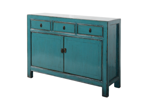 Fine Asianliving Antieke Chinese Dressoir Blauw Glossy B130xD39xH91cm