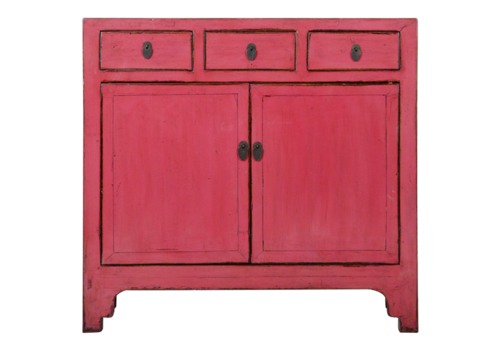Fine Asianliving Antique Chinese Sideboard Rose Pink Glossy W104xD40xH98cm