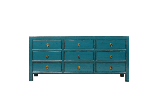 Fine Asianliving Chinese Chest of Drawers Blue Glossy W180xD41xH82cm