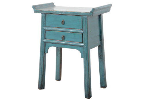 Fine Asianliving Antieke Chinese Sidetable Blauw Glossy B72xD38xH80cm