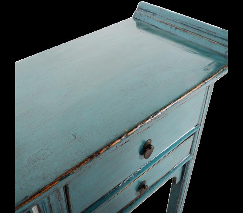 Antieke Chinese Sidetable Blauw Glossy B72xD38xH80cm