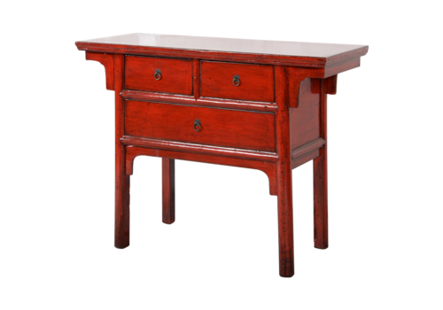 Fine Asianliving Antieke Chinese Sidetable Rood Glossy B101xD45xH86cm