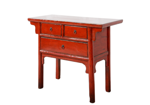 Fine Asianliving Antieke Chinese Sidetable Rood Glossy B102xD44xH85cm