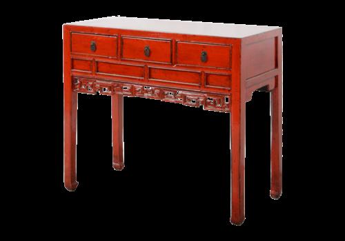 Fine Asianliving Antiker Chinesischer Konsolentisch Rot Glänzend Handgeschnitzt B98xT46xH85cm