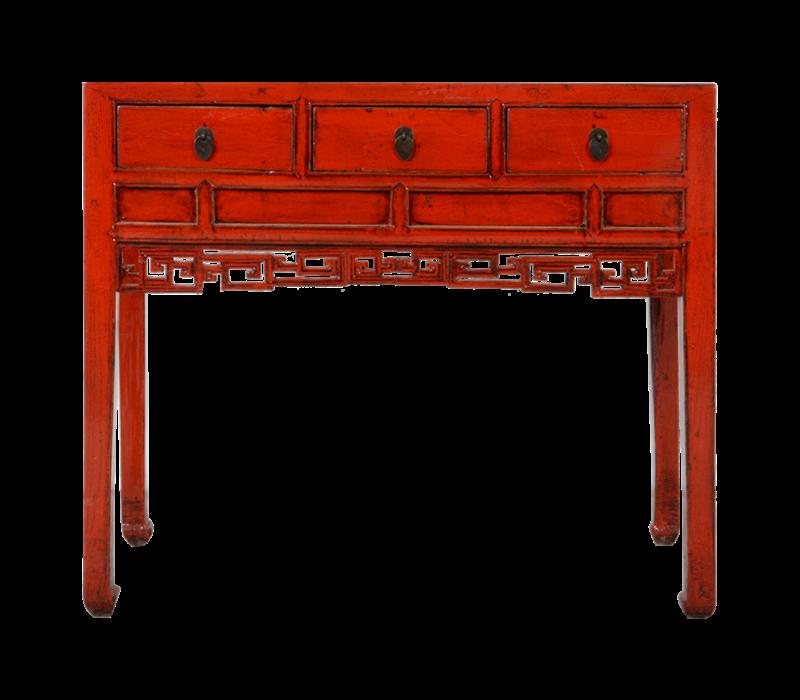 Antieke Chinese Sidetable Rood Glossy Handgemaakt B98xD46xH85cm