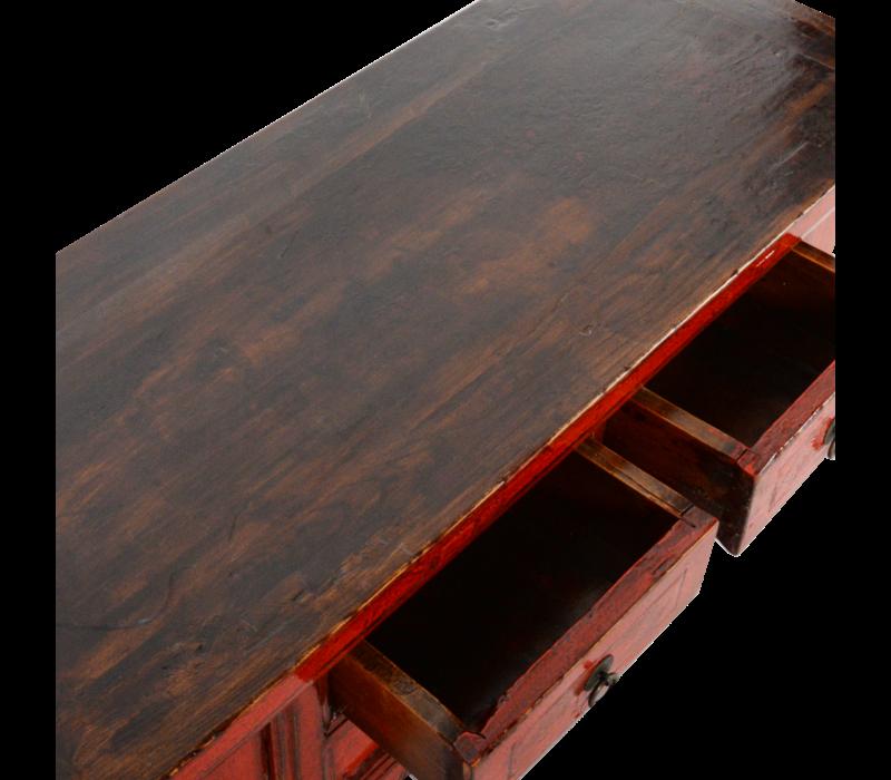 Antieke Chinese Kast Rood Glossy B105xD41xH45cm