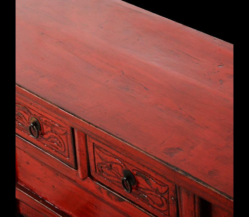 Antieke Chinese Kast Rood Glossy B101xD39xH40cm
