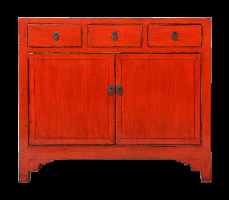 Antieke Chinese Dressoir Rood Glossy B105xD40xH100cm
