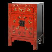 Chinese Kast Rood Handgeschilderd Vlinders B58xD37xH85cm