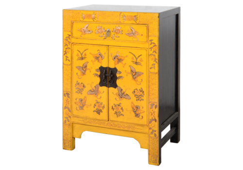 Fine Asianliving Chinese Cabinet Yellow Handpainted Butterflies W58xD37xH85cm