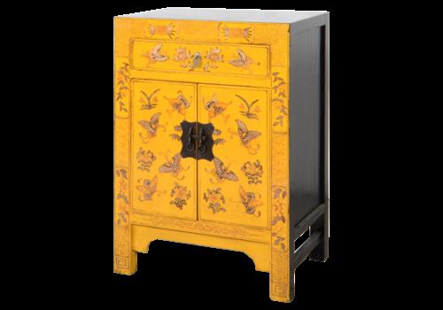 Fine Asianliving Chinese Kast Geel Handgeschilderd Vlinders B58xD37xH85cm
