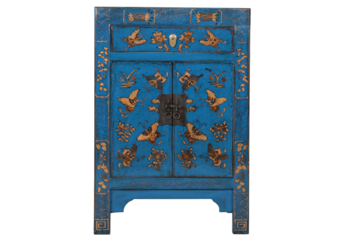 Fine Asianliving Chinese Cabinet Blue Handpainted Butterflies W58xD37xH85cm