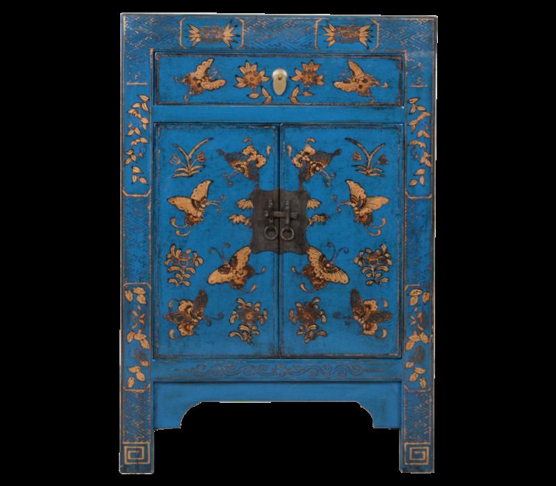 Chinese Kast Blauw Handgeschilderd Vlinders B58xD37xH85cm