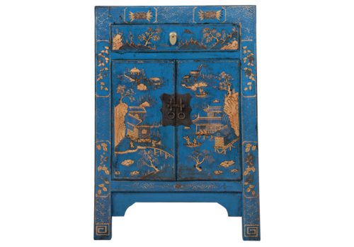 Fine Asianliving Chinese Cabinet Blue Handpainted Scenery W58xD37xH85cm