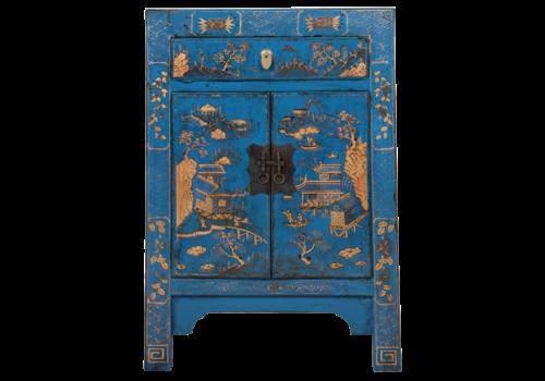 Fine Asianliving Chinese Kast Blauw Handgeschilderd Landschap B58xD37xH85cm