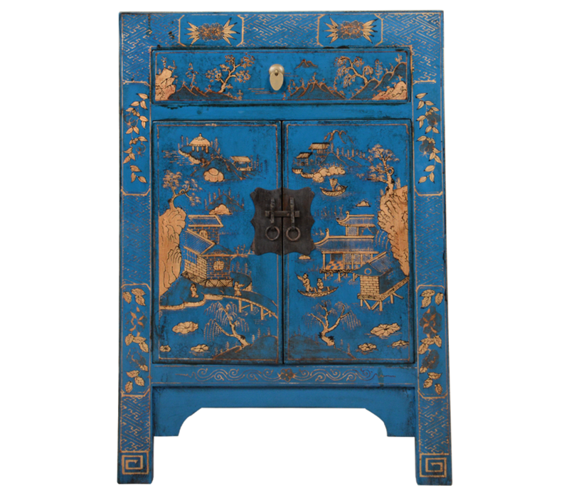 Chinese Kast Blauw Handgeschilderd Landschap B58xD37xH85cm