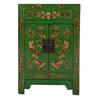 Fine Asianliving Chinese Kast Groen Handgeschilderd Vlinders B58xD37xH85cm