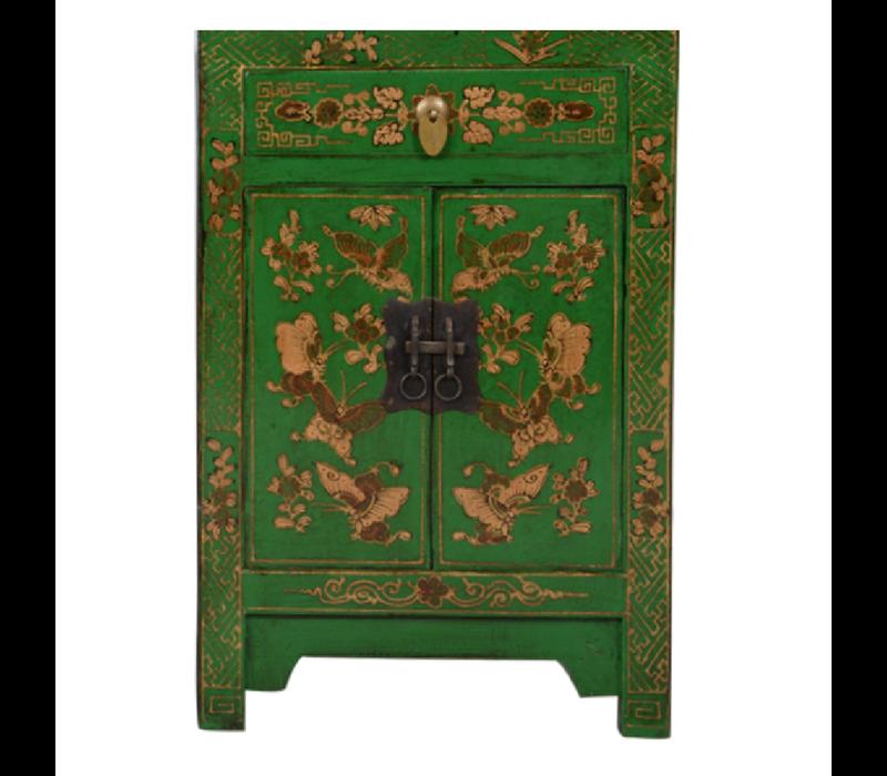 Chinese Kast Groen Handgeschilderd Vlinders B58xD37xH85cm