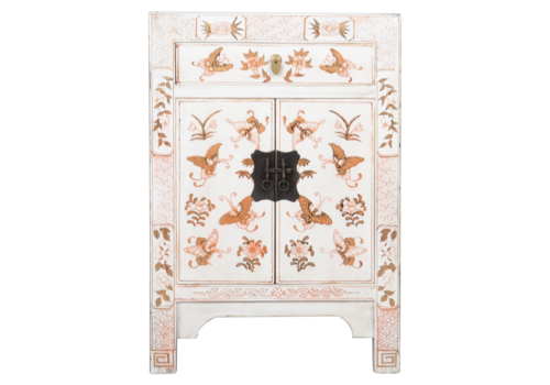 Fine Asianliving Chinese Bedside Table White Handpainted Butterflies W40xD32xH60cm