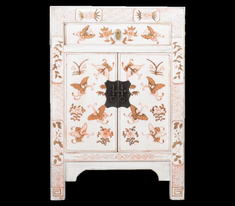 Chinese Nachtkastje Wit Handgeschilderd Vlinders B40xD32xH60cm