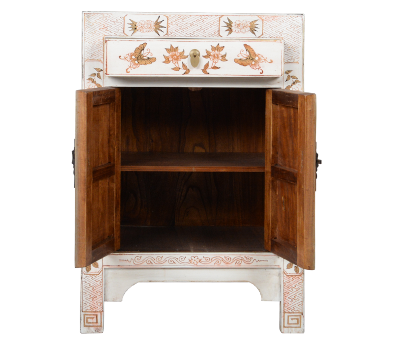 Chinese Bedside Table White Handpainted Butterflies W40xD32xH60cm