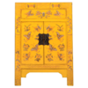 Fine Asianliving Chinese Nachtkastje Geel Handgeschilderd Vlinders B40xD32xH60cm