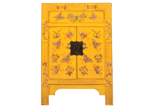 Fine Asianliving Chinese Bedside Table Yellow Handpainted Butterflies W40xD32xH60cm