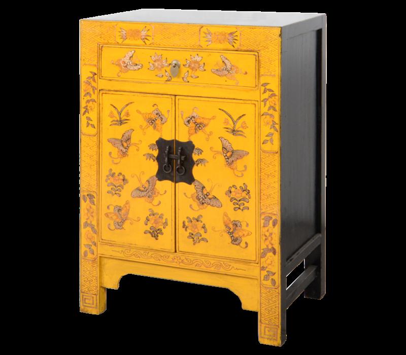 Chinese Nachtkastje Geel Handgeschilderd Vlinders B40xD32xH60cm
