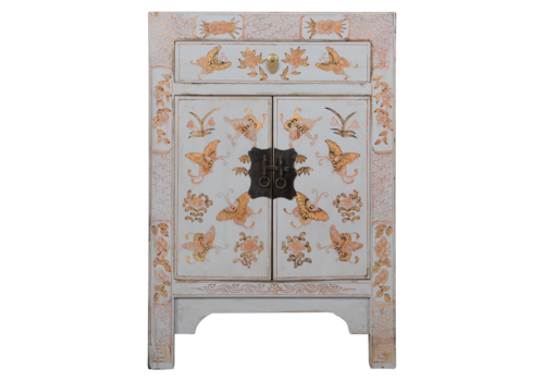 Fine Asianliving Chinese Bedside Table Grey Handpainted Butterflies W40xD32xH60cm