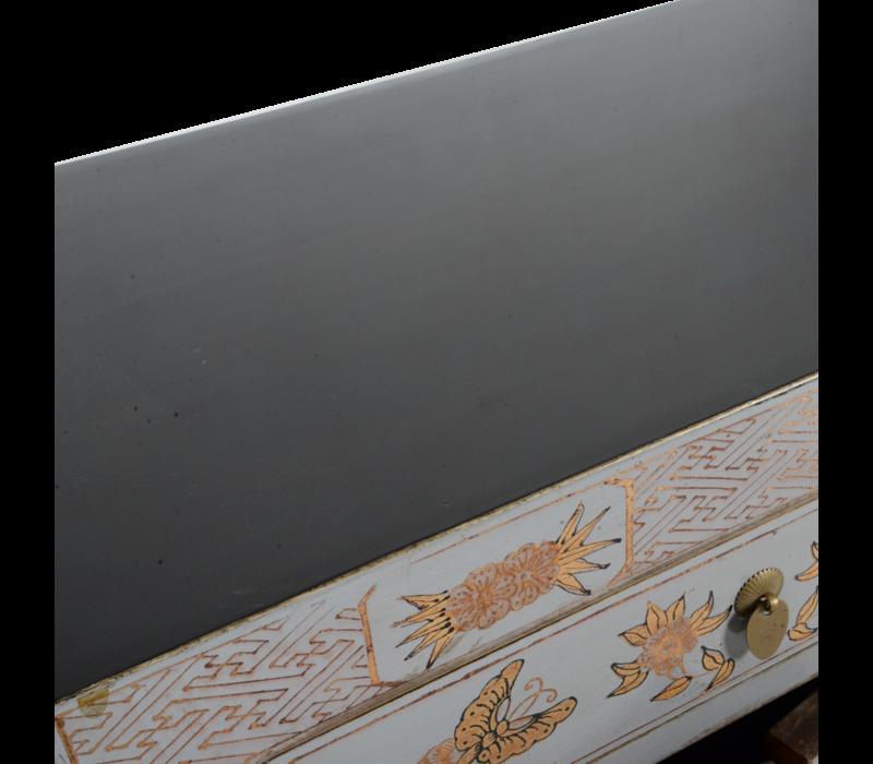 Chinese Nachtkastje Grijs Handgeschilderd Vlinders B40xD32xH60cm
