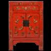 Fine Asianliving Chinese Nachtkastje Rood Handgeschilderd Vlinders B40xD32xH60cm