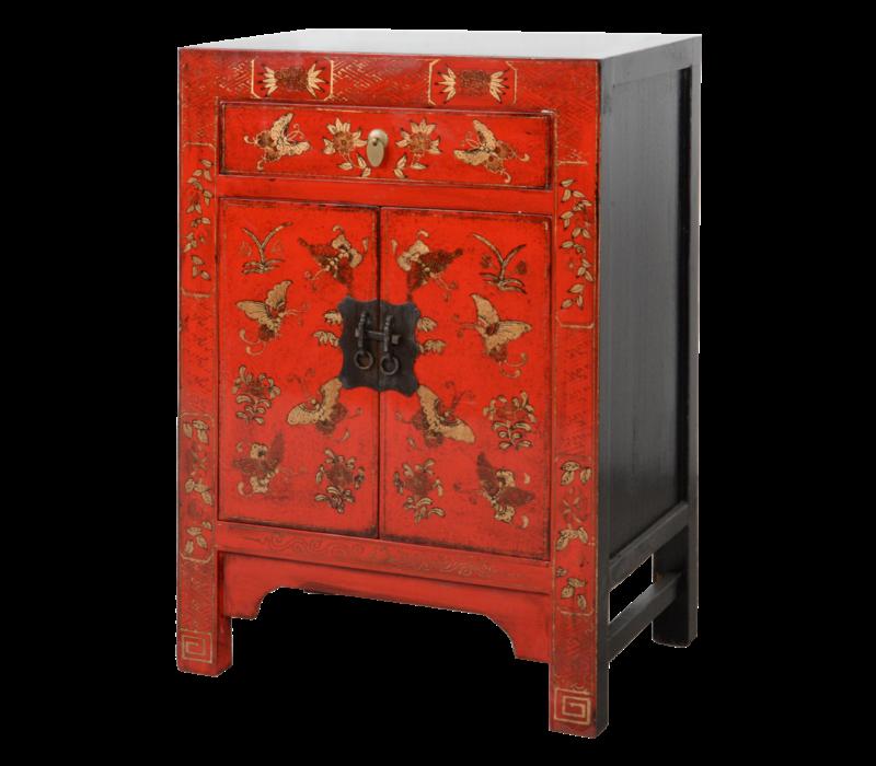Chinese Nachtkastje Rood Handgeschilderd Vlinders B40xD32xH60cm